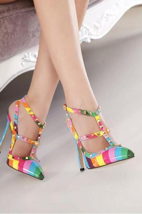Sexy Women Rivet Rainbow Color High-heeled Sandals