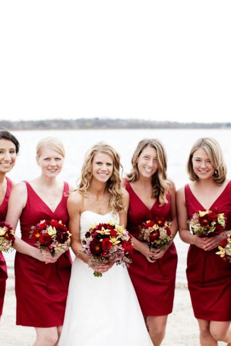 Modest V-neck Satin Bridesmaid Dresses with Soft Pleats, Short Burgundy Bridesmaid Dresses, Column Knee Length Bridesmaid Dresses,