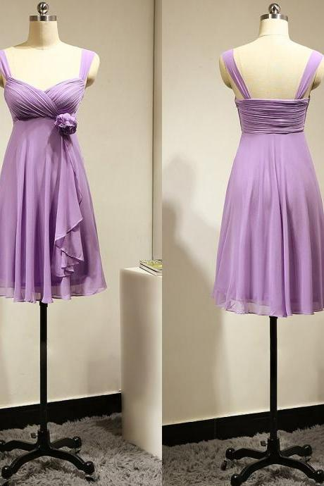 Empire Lavender Bridesmaid Dress with a Hand-made Flower, Short Chiffon Bridesmaid Dress, Fashion Bridesmaid Gowns,