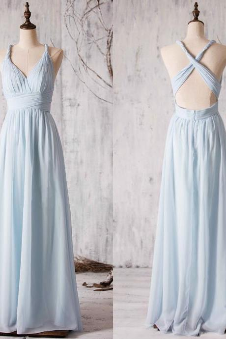 Ruched Plunge V Floor Length Chiffon Bridesmaid Dress Featuring Criss-cross Open Back