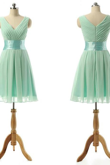 Vintage Bridesmaid Dress with a Ribbon, Light Green V-neck Bridesmaid Dresses with Soft Pleats, Knee-length Chiffon Bridesmaid Dresses,