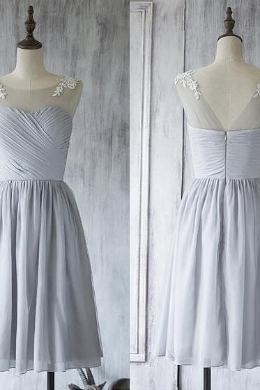 Illusion Short Bridesmaid Dress, Light Gray Bridesmaid Gown with Lace Appliques, Knee-length Chiffon Bridesmaid Dress,