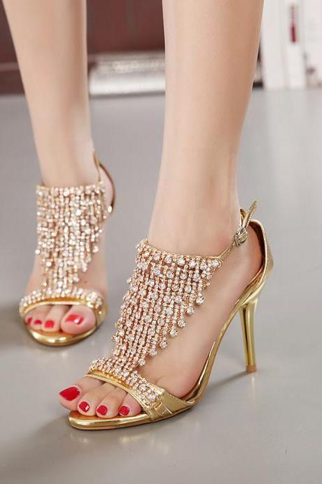 thin heel Rhinestone banquet women sandals