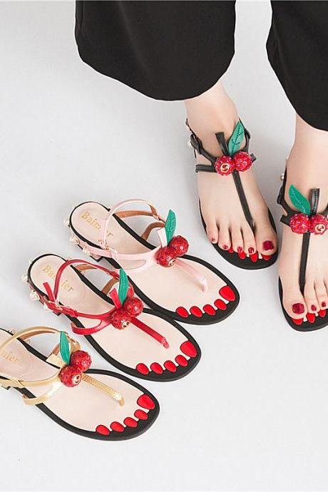 cute pearl cherry thick heel soft sole patchwork color hasp women sandals