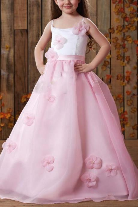 New Custom Made First Communion Dresses For Girls Handmade Flowers Princess Ball Gown Whtie/Pink Flower Girl Dresses For Wedding