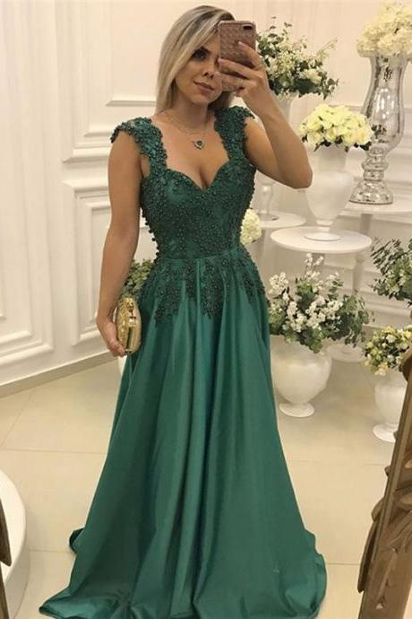 Dark Green Evening Dress Vestidos De Festa Satin Floor Length Prom Dresses Long Cheap with Beading Crystals Party Dress