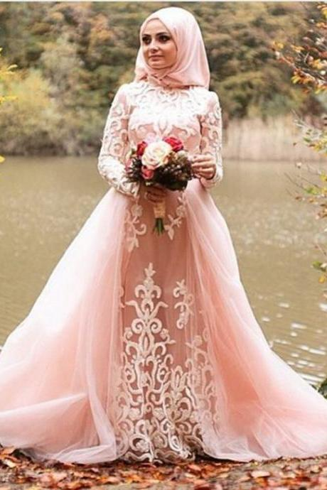 Muslim Evening Dress 2017 vestidos de festa A line Blush Pink Tulle Appliques Women Formal Gowns Long Sleeves Hijab Prom Dresses