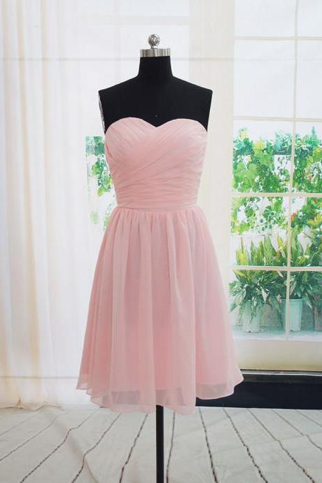 Charming Handmade Short Simple Pink Bridesmaid Dresses, Pink Bridesmaid Dreses, Simple Prom Dresses, Wedding Party Dresses