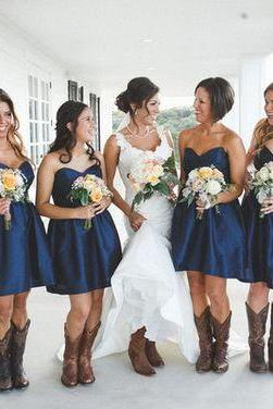Navy blue bridesmaid dress,short prom dress,sweetheart homecoming dresses,bridesmaid dresses