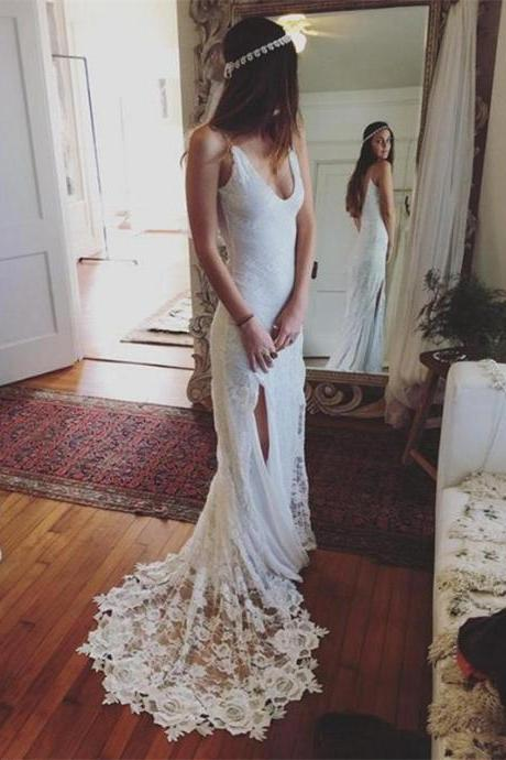 Bohemian Summer Beach Wedding Dress Lace Backless Side Slit Bridal Gown
