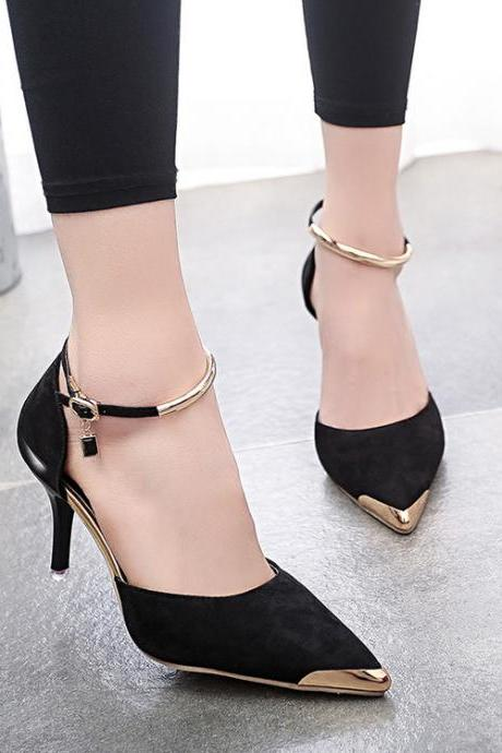 Pointed Toe Suede High Heel Ankle Strap Pumps Adorned with Charm