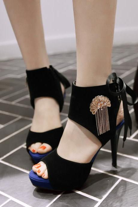 Sexy Stiletto Ribbon Lace Up Metal Tassel Sandals