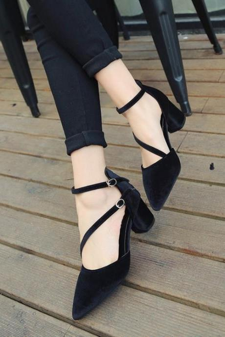 Leisure fashion all-match simple elegant high heels