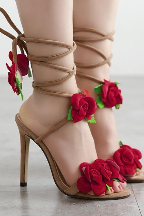 Lace-Up High Heel Sandals Embellished with Pop-up Rose Details