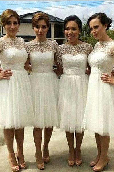 Knee Length Lace Bridesmaid Dresses for Wedding,Short Damigella Bridesmaid Dresses Robe Corail,Popular White Ivory Peacock Wedding Dresses for Bridesmaids