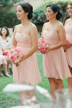 Bridesmaid dress, short bridesmaid dress, peach bridesmaid dress, chiffon bridesmaid dress, cheap bridesmaid dress,