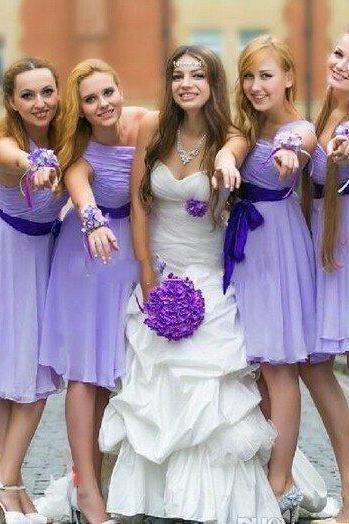 lavender bridesmaid dress,short bridesmaid dress,one shoulder bridesmaid dress,cheap bridesmaid dress