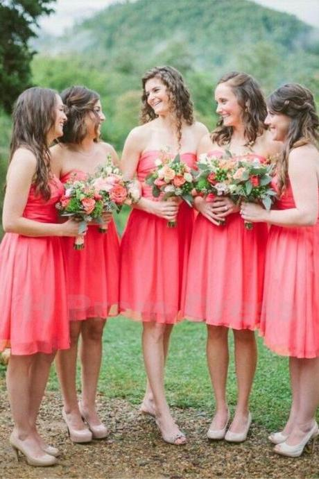 Prom Dress Prom Dress Prom Gown Evening Dress Bridesmaid Dresses Homecoming Dresses Formal Dress Party Dress Cocktail Dress Ball Gown Short Coral Bridesmaid Dresses with Sweetheart Knee Length Chiffon Bridesmaid Gowns