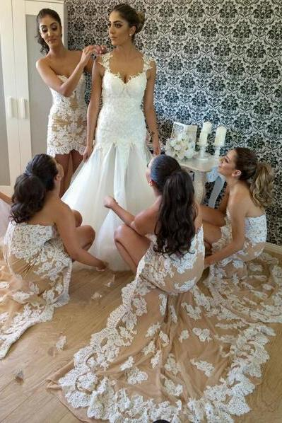 Lace Bridesmaid Dress,High Low Bridesmaid Gown,Bridesmaid Gowns,Mermaid Bridesmaid Dresses,Bridesmaid Gowns,2017 Bridesmaid Dress,Champagne Bridesmaid Dresses