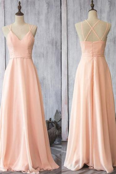 Girly Pearl Pink Chiffon Bridesmaid Dresses, Wholesale Spaghetti Straps Bridesmaid Dresses, Flattering Long Bridesmaid Dresses,