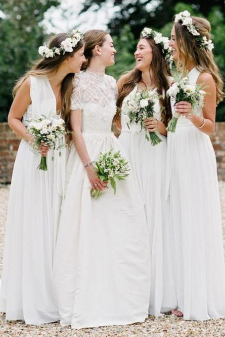 Long Bridesmaid Dresses, Bridesmaid Dresses 2017 Sale A-line Sleeveless Deep V-Neck Floor-Length Pleated Zipper Dresses