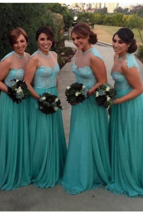 Bridesmaid Dresses 2017 Hot Sale A-line Sleeveless Jewel Sweep/Brush Train Lace Zipper Dresses