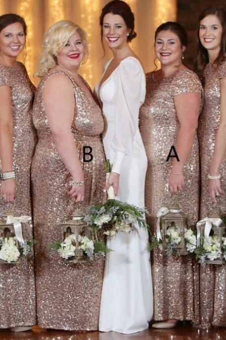Long Bridesmaid Dresses, Bridesmaid Dresses 2017 Discount Sheath Cap Sleeves Bateau Floor-Length Sequin Zipper Dresses