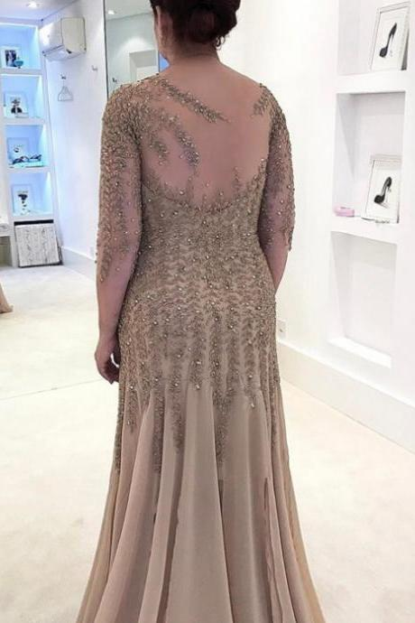 Mother Of The Bride Dresses Hot Sale Sheath 3/4 sleeves Bateau Floor-Length Beading Side Zipper Dresses