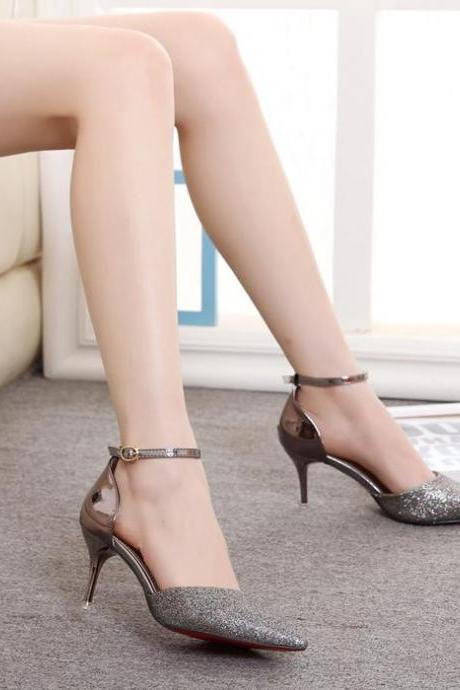 Women Mixed Colors Hasp Pointed Toe Thin High Heel Sandals