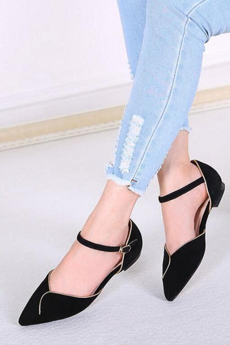 Ballet Flats Women Fashion Hollow Hasp Flat Solid Pointed Toe Ballerina