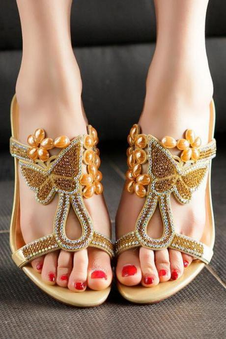 Sandals Heels Women Summer Elegant Rhinestone Kitten Heels Solid Slippers