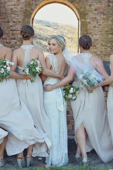 Long bridesmaid dress, custom bridesmaid dress, unique bridesmaid dress, chiffon bridesmaid dress,