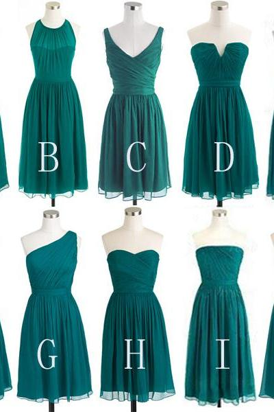 Mismatched Bridesmaid Dresses,Short Bridesmaid Gown,Summer Bridesmaid Gowns,Beach Bridesmaid Dress,Strapless Bridesmaid Gown,Straps Bridesmaid Dress