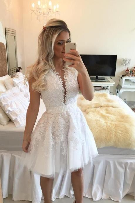 Homecoming dress 2017,White 2017 A-line V-neck Cap Sleeves Lace Pearls See Through Sexy Homecoming Dresses Special Occasion Cocktail Dresses