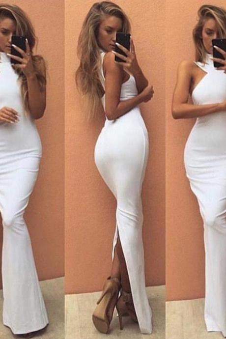 Prom dress 2017,Cheap prom dresses 2017 White Sexy High Neck Mermaid Satin Prom Dresses 2017