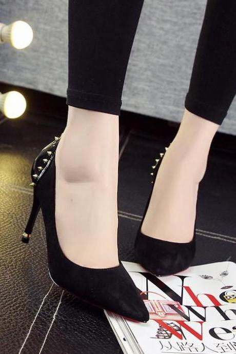 Pumps Women Sexy Rivet Pointed Toe Thin High Stiletto Heel