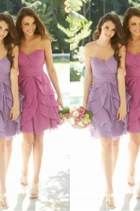 mini bridesmaid dresses,Sexy sweetheart bridesmaid dress,classic design bridesmaid dress,chiffon bridesmaid dress,pink bridesmaid dress,