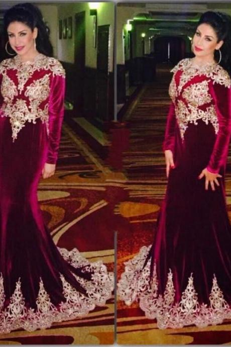 burgundy prom dresses,velvet prom dresses,Muslim prom dress,Long Sleeves Evening Gowns,Wedding Party Dress
