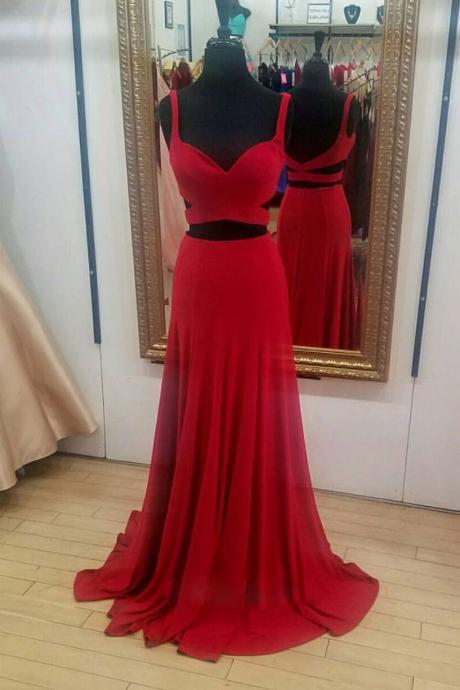 Cheap prom dresses 2017,Simple Red Chiffon Prom Dress,Two Pieces Sweetheart Evening Dress,Straps Long Prom Dresses