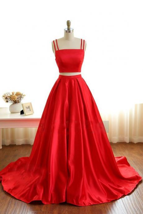 Cheap prom dresses 2017,Gorgeous Red Satin Two Piece Straps Prom Gowns, Red Prom Gowns, Two Piece Party Dresses,2017 New Graduation Dress Gowns,Long Satin Party Dress