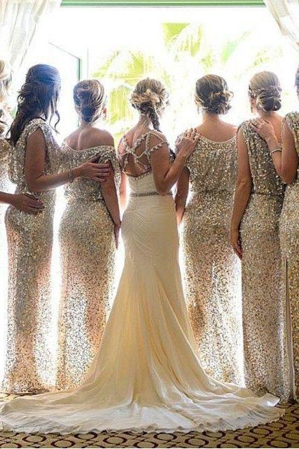 Custom Made Gold Sequin Floor Length Bridesmaid Dress