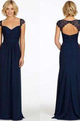 long bridesmaid dress, navy bridesmaid dress, cap sleeve bridesmaid dress, cheap bridesmaid dress, modest bridesmaid dress,
