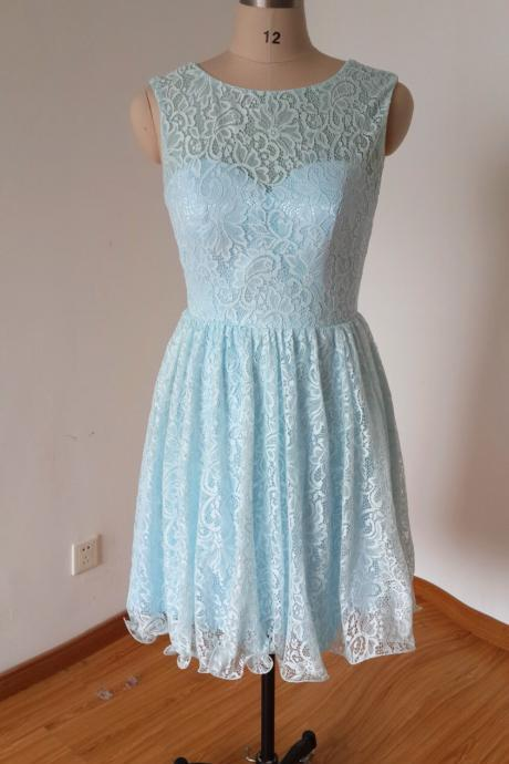 Blue Lace Bridesmaid Dress, Short Bridesmaid Dresses, Cheap Bridesmaid Dress, Junior Bridesmaid Dress, Wedding Guest Dresses, Cute Bridesmaid Dress, Bridesmaid Dresses
