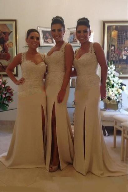 Customisable White Lace Floor length Bridesmaid Dresses with High Split