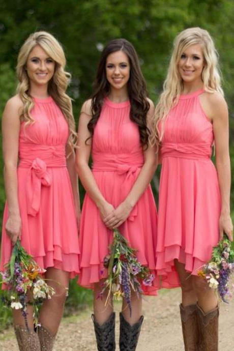 Short Bridesmaid Dress,blush bridesmaid dress,Bridesmaid dress with cowboy boots, Chiffon Bridesmaid dress, Simple bridesmaid dress, unique style bridesmaid dress, cheap bridesmaid dress,