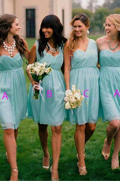 short bridesmaid dress, mismatched bridesmaid dresses, cheap bridesmaid dress, chiffon bridesmaid dress, blue bridesmaid dress,