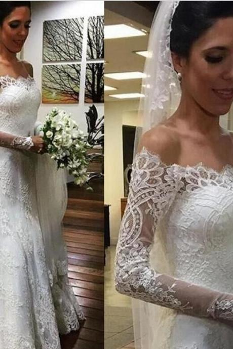 Cheap Off Shoulder Long Sleeves Mermaid Lace Wedding Dress 2017