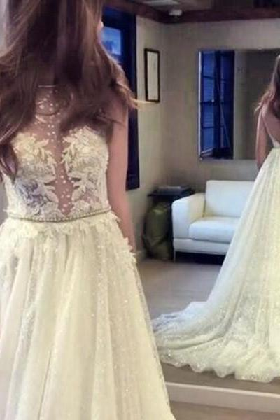 Sexy Tulle Wedding Dress,Appliques Wedding Dresses,Open Back Wedding Gown Bridal Dresses