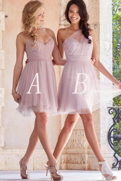 Bridesmaid Dress, Short Bridesmaid Dress, Tulle Bridesmaid Dress, Bridesmaid Dress, Pretty Bridesmaid Dress, Knee-Length Bridesmaid Dress, Cheap Bridesmaid Dress