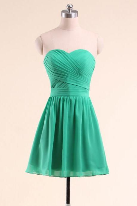 A-line Sweetheart Chiffon Bridesmaid Dresses,Ruched Short Chiffon Dresses,Mini Formal Dresses,